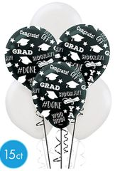 Black & White Grad Balloons, 15ct