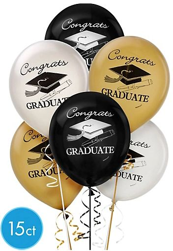 Gold, Silver, Black & Clear Graduation Latex Balloons, 15ct