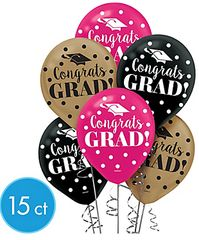 Gold Confetti Grad Latex Balloons, 15ct