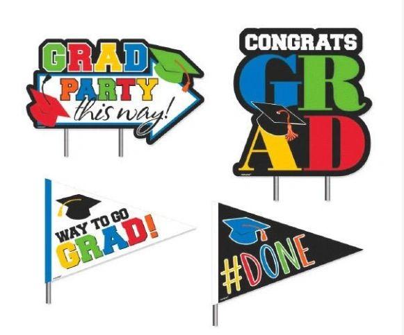 Multicolor Congrats Grad Plastic Corrugate Yard Stakes, 4ct