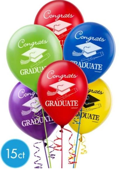 Multi Color Grad Latex Balloons, 15ct