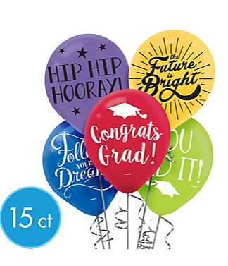 Multi Color Grad Printed Latex Balloons, 15ct