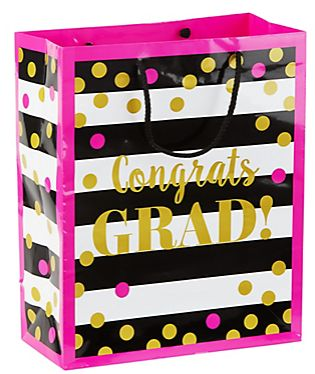 Gold Confetti Grad Gift Bag