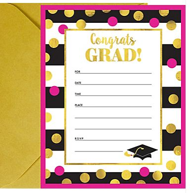 Gold Confetti Grad Invitations, 20ct