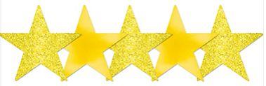 Mini Glitter Sunshine Yellow Star Cutouts, 5ct