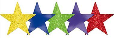 Mini Glitter Rainbow Star Cutouts, 5ct