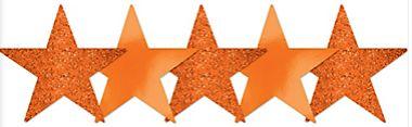 Mini Glitter Orange Star Cutouts, 5ct