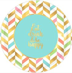 "Eat, Drink & Be Happy! Metallic Round Plates, 10 1/2"" - 8ct"