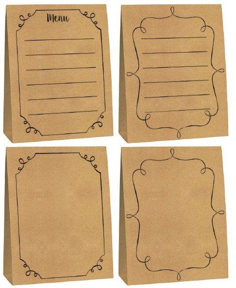 Large Kraft Paper Menu Cards