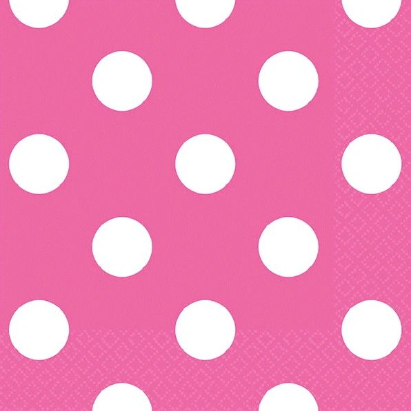 Bright Pink Dots Beverage Napkins