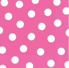 Bright Pink Dots Luncheon Napkins