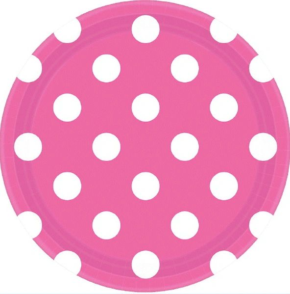 "Bright Pink Dots, 7"" Plates"