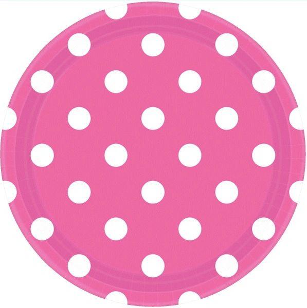"Bright Pink Dots, 9"" Plates"