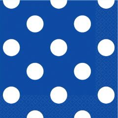 Bright Royal Blue Dots Beverage Napkins