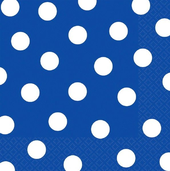 Bright Royal Blue Dots Luncheon Napkins