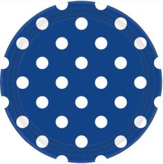"Bright Royal Blue Plates, 9"" - Dots"