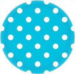 "Caribbean Blue Plates, 9"" - Dots"