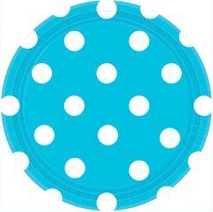 "Caribbean Blue Plates, 7"" - Dots"