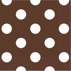 Chocolate Brown Dots Beverage Napkins