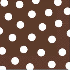 Chocolate Brown Dots Luncheon Napkins