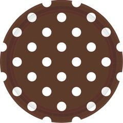 "Chocolate Brown Dots, 9"" Round Plates"