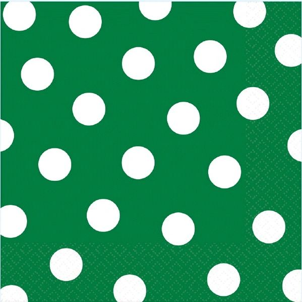 Festive Green Dots Luncheon Napkins