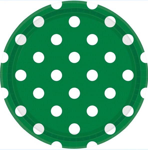 "Festive Green Dots, 9"" Round Plates"
