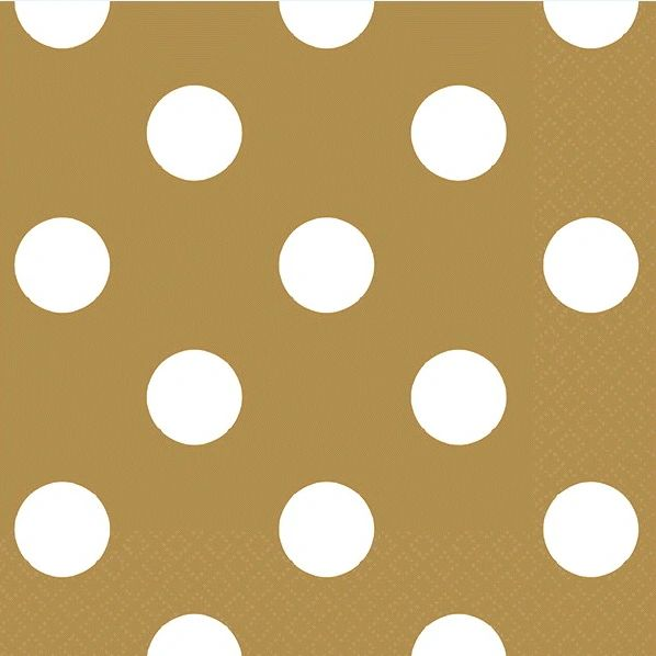 Gold Dots Beverage Napkins