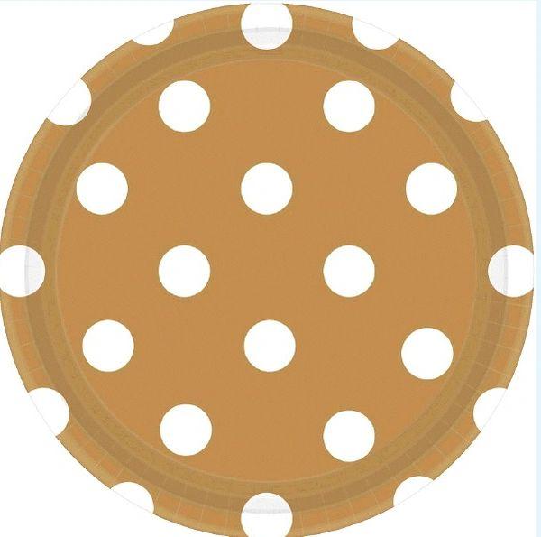 """Gold PolKa Dots Plates, 7"""""""