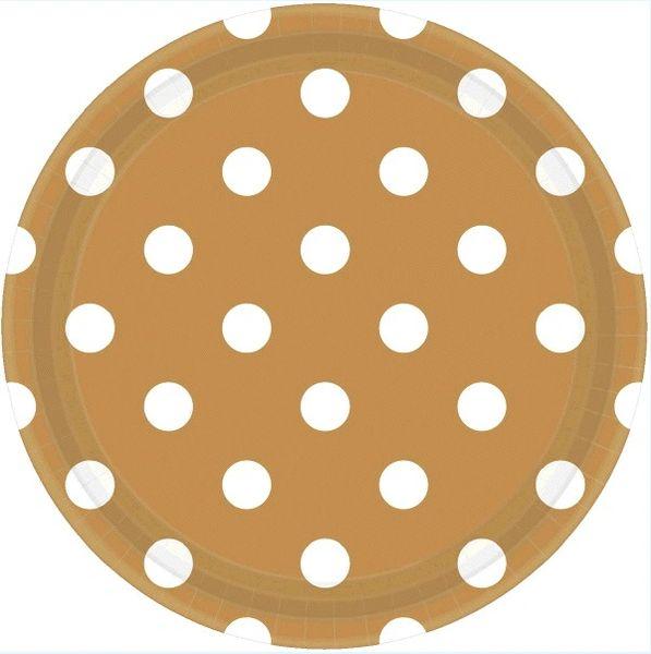 """Gold Polka Dots Plates, 9"""""""