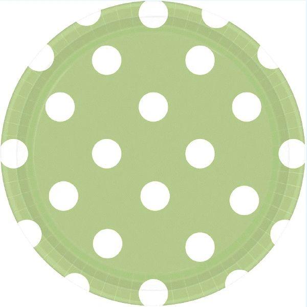 "Leaf Green Polka Dots Round Plates, 7"""