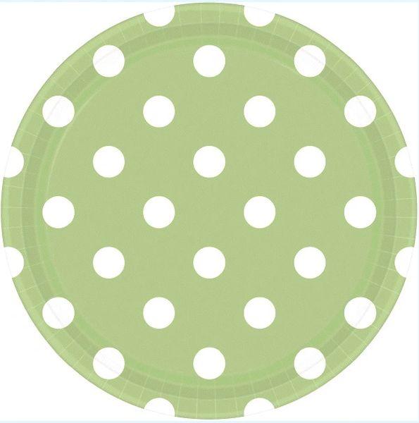 "Leaf Green Polka Dots Round Plates, 9"""