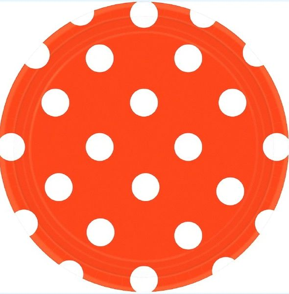 Orange Peel Polka Dots Round Plates, 7""