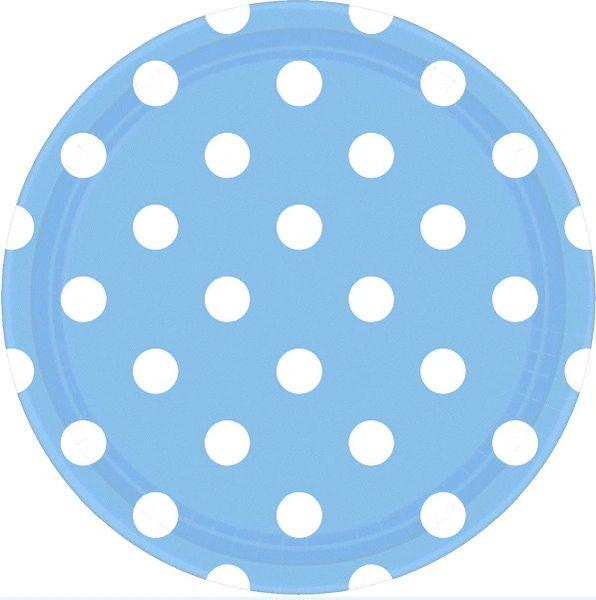 "Pastel Blue Polka Dots Round Plates, 9"""