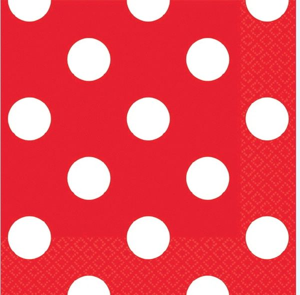 Red Polka Dots Beverage Napkins