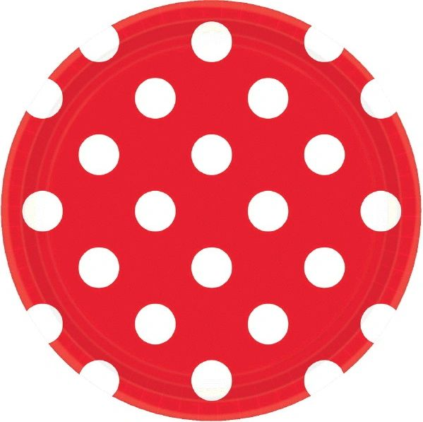 Red Polka Dots Plates, 7""