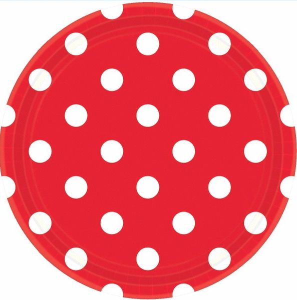 Red Polka Dots Plates, 9""