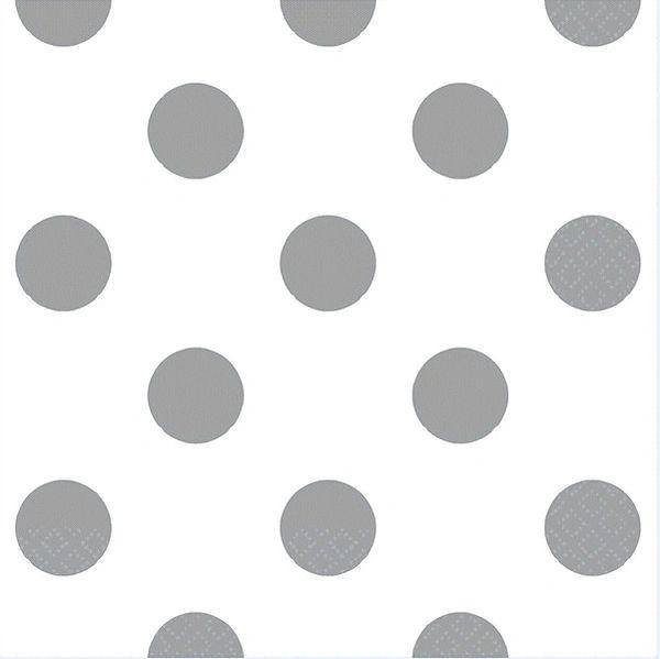 Silver Polka Dots Beverage Napkins