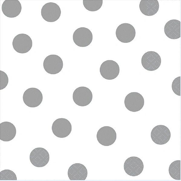 Silver Polka Dots Luncheon Napkins