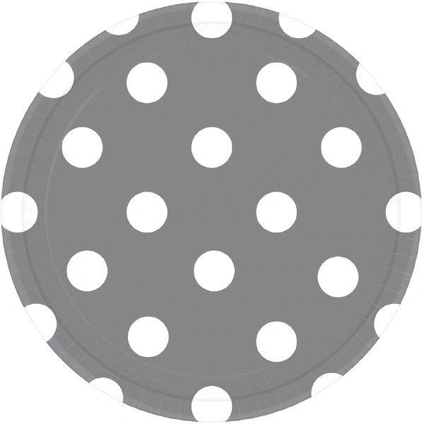 """Silver Polka Dots Plates, 7"""""""