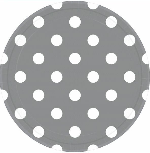 Silver Polka Dots Lunch Plates, 9""