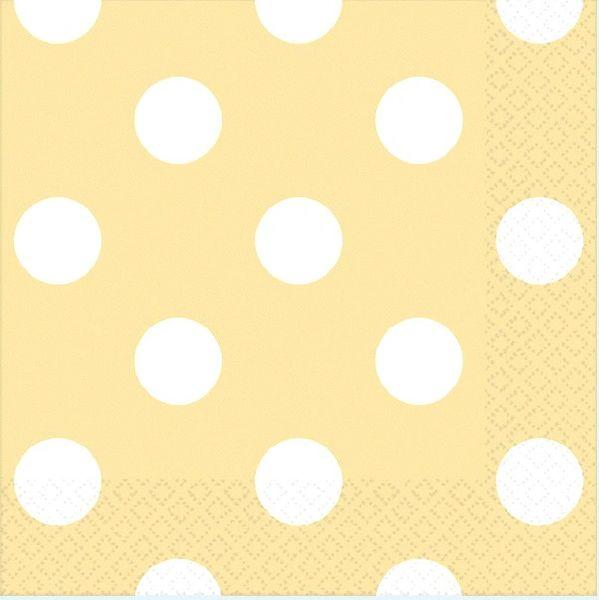 Vanilla Crème Polka Dots Beverage Napkins