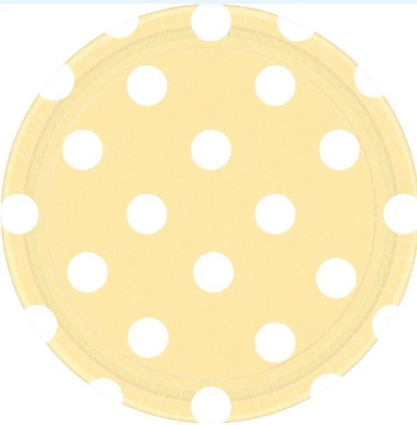 "Vanilla Crème Polka Dots Round Plates, 7"""