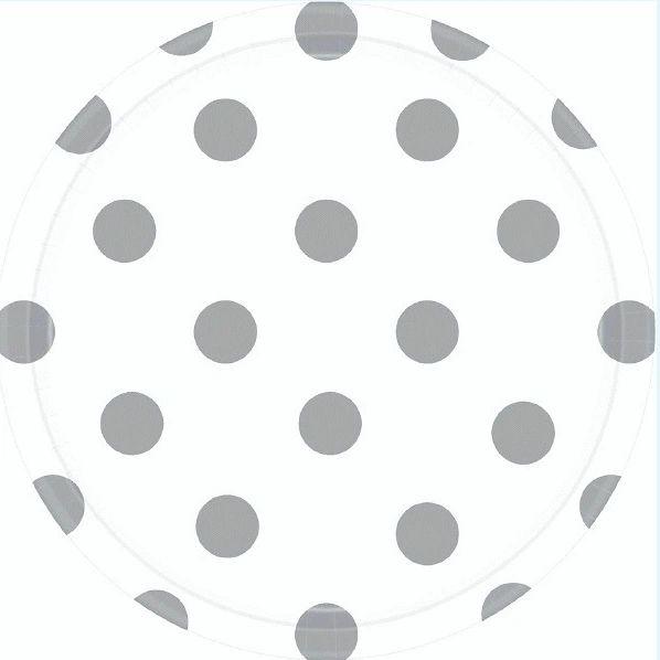 """White Polka Dots Round Plates, 7"""""""
