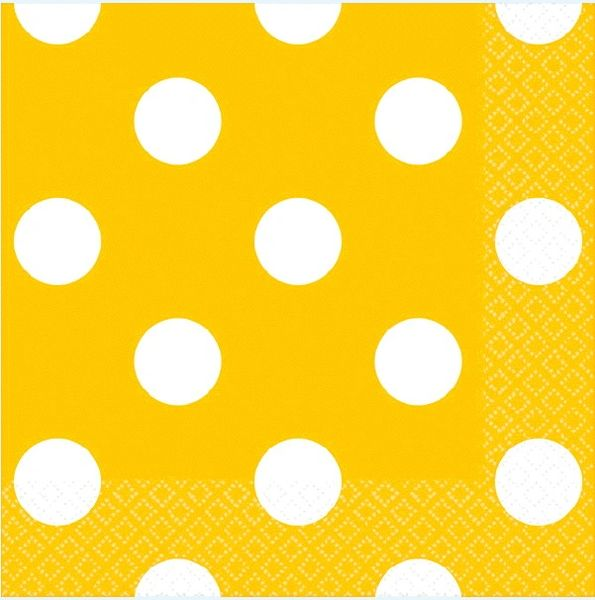 Yellow Sunshine Polka Dots Beverage Napkins