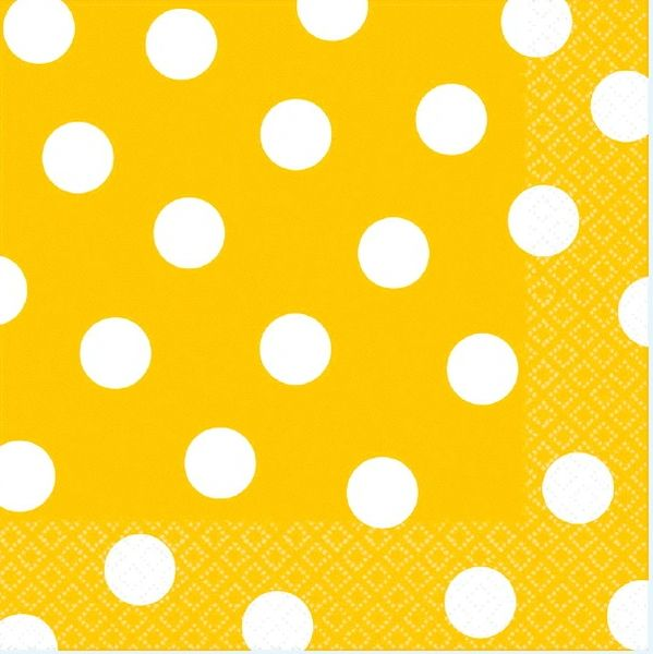 Yellow Sunshine Polka Dots Luncheon Napkins