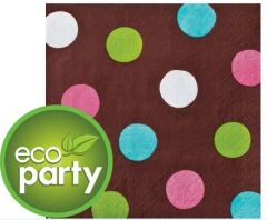 Chocolate & Dots Polka Dot Beverage Napkins