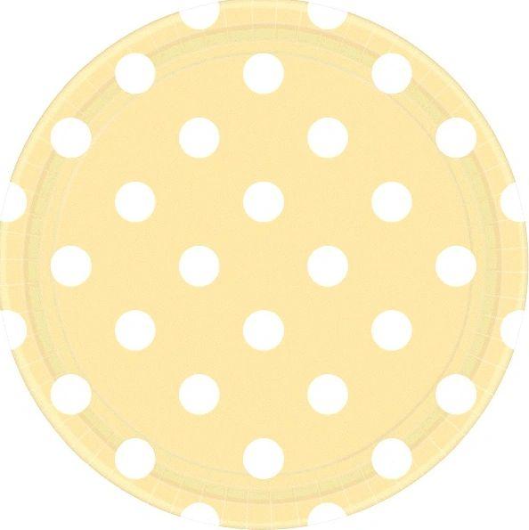 "Vanilla Crème Polka Dots Round Plates, 9"""