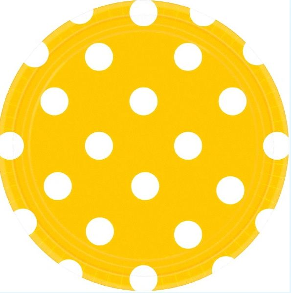 Yellow Sunshine Polka Dots Round Plates, 7""