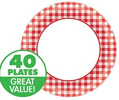 "Picnic Party Red Gingham Dessert Plates, 6 3/4"" - 40ct"